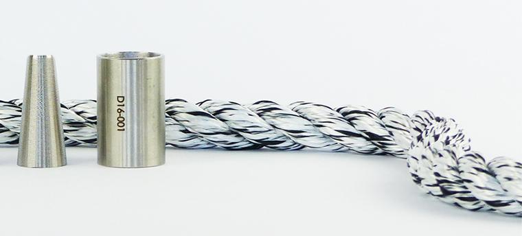Une terminaison similaire aux câbles acier, avec une douille et une ogive
