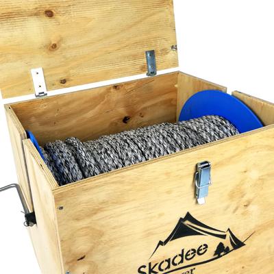 Packaging caisse bois intelligent : enrouler dérouler cable débardage treuil forestier